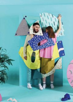 Male and female model with abstract patterned shapes. Art direction by Amy Bairstow.