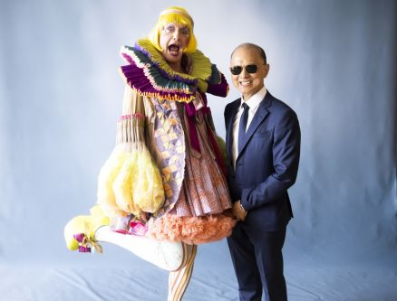 Grayson Perry and Jimmy choo posing for a photograph