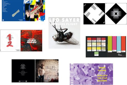 Selection of record sleeve design from the re-covered brief.