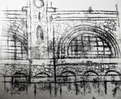 A black monoprint of a building exterior depicting arches and windows.