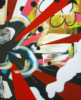 Explosion of red, white, yellow and black with marks that are both painterly and cartoon like graphics. Work by Lee James.