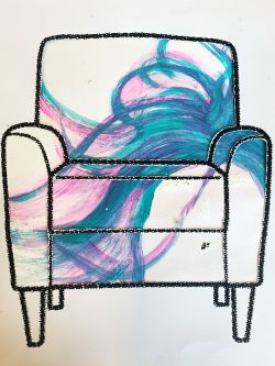 Chair illustration with painted blue and purple textile design.