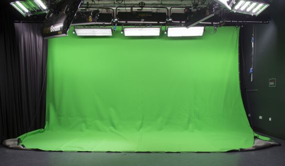 A green screen backdrop