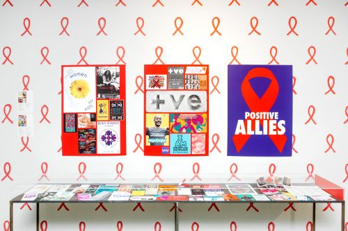 Installation including wallpaper and publications around the subject of HIV Aids
