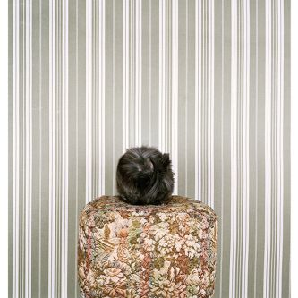 Photograph of a black cat on cushion with stripy wallpaper in the background