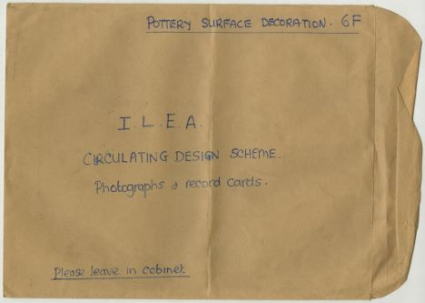 Envelope containing photo, record card and documentation for a 'Pottery Surface Decoration' display (front). ILEA Collection IA_P6F1_D2.]