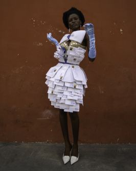 Outfit designed by BA (Hons) Creative Direction for Fashion student, Delali Ayivi, made from letters.