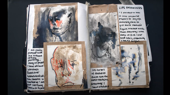 Sketchbook with life drawings and annotations