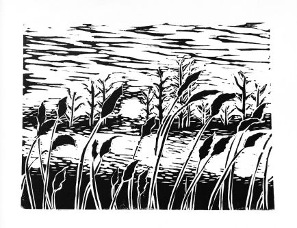 Black and white digital drawing of wheat in a field
