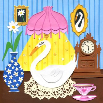 Illustration of a swan sat under a lamp