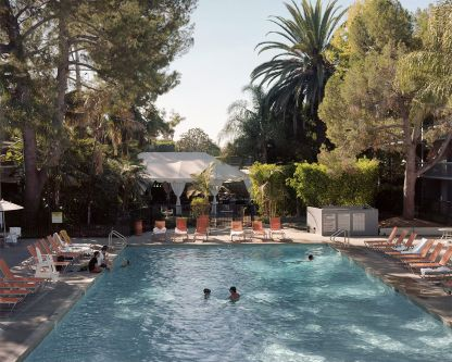 A photograph of a swimming pool in Altadena, California.