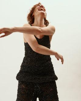 Model wearing knitwear