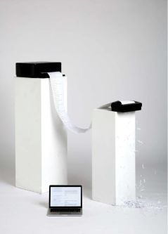 Computer printout to shredder on plinths