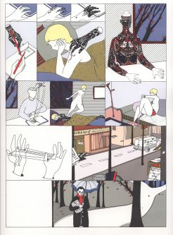 A page from a graphic novel, showing a surreal dream of the protagonist.