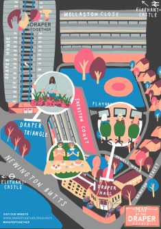Colourful illustration of Elephant and Castle.
