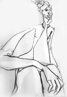 Line sketch of a woman with her hand on her chin