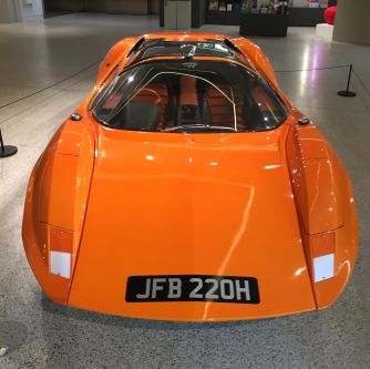 An orange sports car