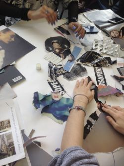 Students working on collages
