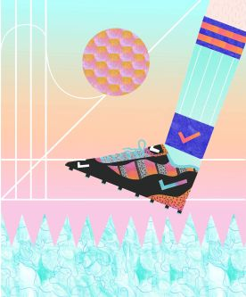 Nike football boot illustration by Ellie Andrews.