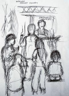 Illustration of people at Borough Market.