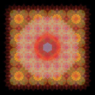 Geometric and multi-coloured square mandala pattern