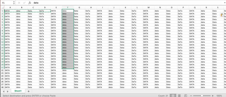 data selection.