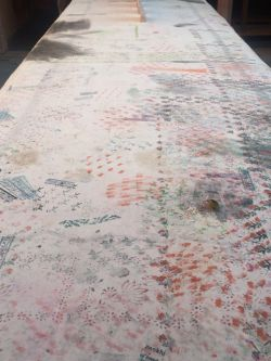 Fabric covered in difference pigment marks