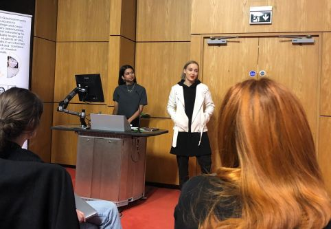 female speaker duo in lecture theatre
