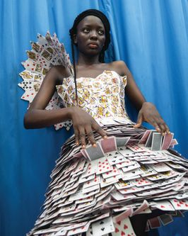 Outfit designed by BA (Hons) Creative Direction for Fashion student, Delali Ayivi made from playing cards.