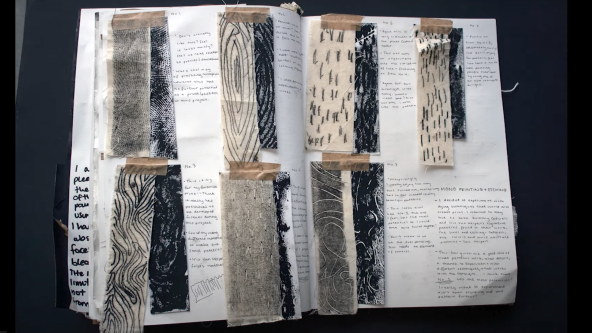 Sketchbook with patterned fabric swatches and annotations