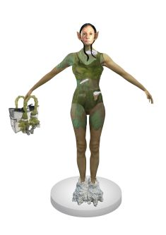 3-D digital render of an elf-like person with black hair and pointy ears wearing a green bodysuit, holding a handbag with green handles and wearing abstract shoes of white material.