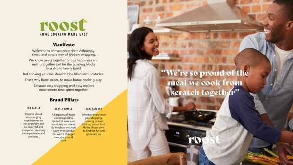 Image depicts concept art for Roost, a family food brand.