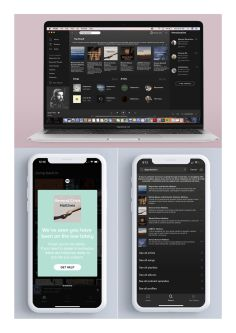 Image depicts Gloria's prototypes for various developments on the Spotify streaming platform.