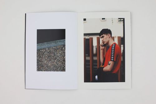 Two photos, one showing the close up of a grey pebbled-dash wall and tarmac, the other showing a model wearing a red t-shirt, standing in profile.