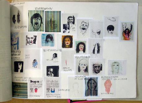 Sketchbook page showing a number of square illustrated portraits, covering a number of emotions including 'vulnerable', 'aggression' and 'self pity''