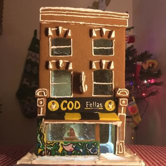 Gingerbread version of Cod Fellas Fish and Chips