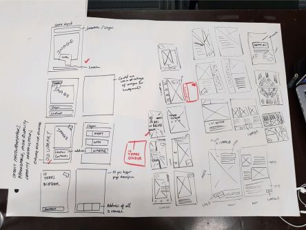 White piece of paper showing pen sketches for a flyer plan.
