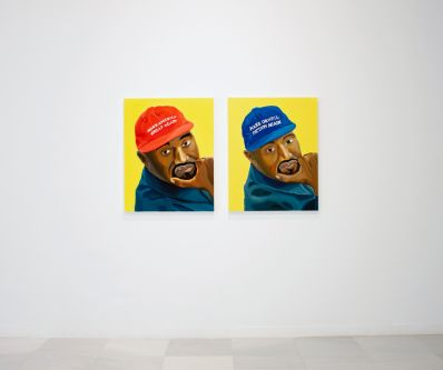 Two portraots of a man in a baseball hat