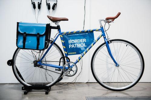 A bike with a sign that reads 'border patrol'