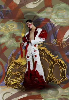 Male model in a white suit with red inserts with a psychedelic background