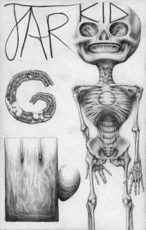 Pencil drawing with skeleton and text by Max K Weaver.