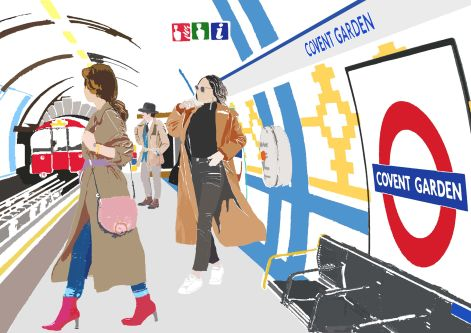 An illustration of the inside of Covent Garden tube station, illustrated by the brand Njeri illustrated.