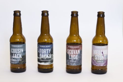 Tin Miners Brewery designs and branding for beer bottle labels