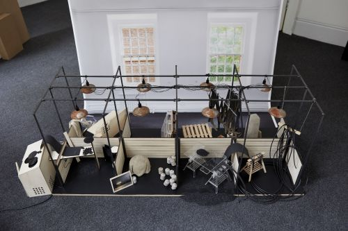 Small scale architectural model of artists studios by Cedric Migroyan.