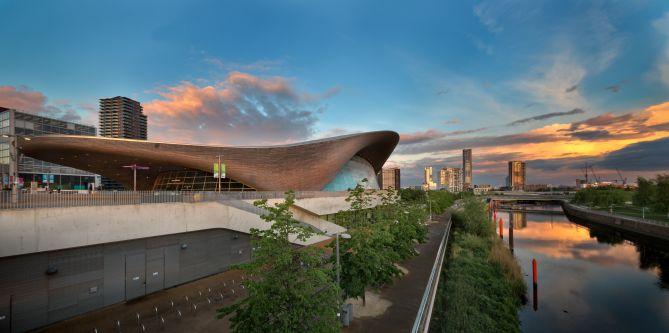 sunset and panoramic view of London Aquatics Center