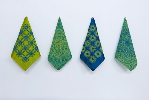 Scarf collection with geometric designs by Allison Soupcoff.