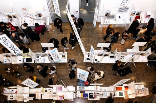 Bird's eye view of gallery spaces at LCC