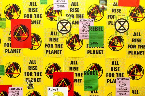 Bright yellow posters plastered across the wall raising awareness for climate change