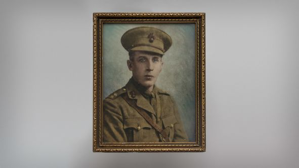 Portrait image of a solider in uniform in a small brown frame