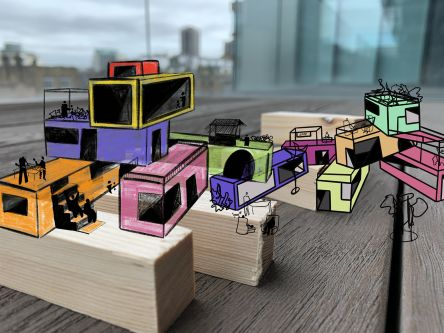 Illustration of coloured structures in urban setting